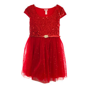 Justice red sequined tulle Holiday dress size 8